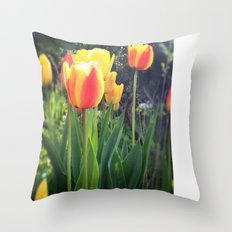 Spring Tulips in Bloom Throw Pillow