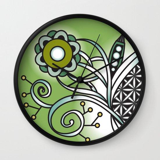Ornate square zentangle, Sap Green Wall Clock