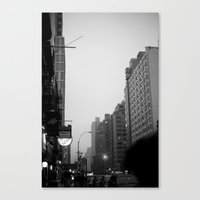 New York City In The Rai… Canvas Print