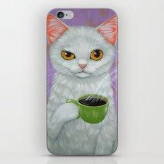WHITE CAT AND BLACK COFFEE iPhone & iPod Skin