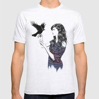Dark Wings Mens Fitted Tee Ash Grey SMALL