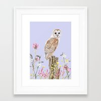 Framed Art Print featuring Meadow Barn Owl by Heather Bechler