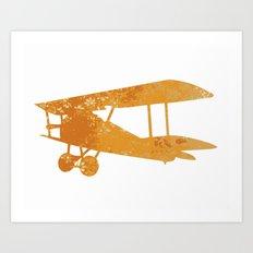 Yellow nursery airplane wall art print vintage Art Print