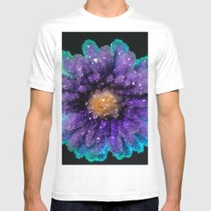 Crystalized Flowers Mens Fitted Tee SMALL White