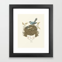 Bird Hair Day Framed Art Print