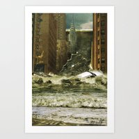 Water vs City Art Print