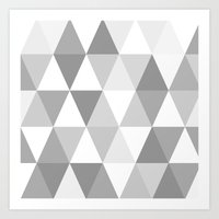Shades Of Grey Triangles Art Print