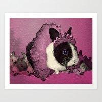 Pink Bunny Princess Print Art Print
