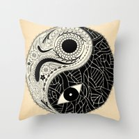 - yin & yang - [collaborative art with famenxt] Throw Pillow