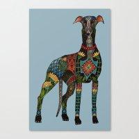 greyhound azure blue Canvas Print
