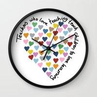 Hearts Heart Teacher Wall Clock