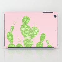 Linocut Cacti #1 Minty Pinky iPad Case