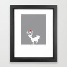 Deer Alloy Beige Heart Love Framed Art Print