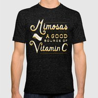 Mimosas = Vitamin C Mens Fitted Tee Tri-Black SMALL