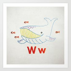 W Whale Art Print