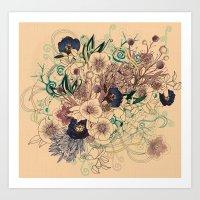 Zentangle Floral mix Art Print