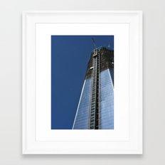 Freedom Tower and Moon Framed Art Print