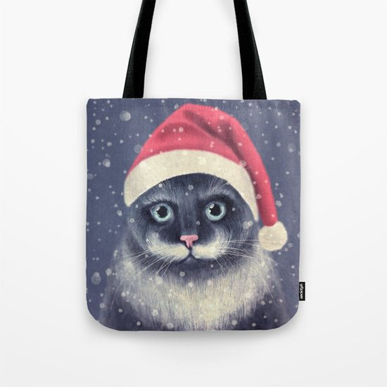 Christmas cat with a mustache Tote Bag