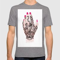 Modern Watercolor Hand  … Mens Fitted Tee Tri-Grey SMALL