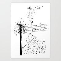 Morning song birds Art Print