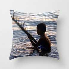 THAILAND - Koh Pangan | Travel | Sea | Children | Nature | Ocean | Dusk | Summer | Photography  Throw Pillow