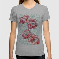 Poppies & Vines Womens Fitted Tee Athletic Grey SMALL