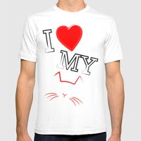 I Love My Cat Mens Fitted Tee White SMALL