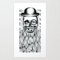 Mr. Skull Beard Art Print