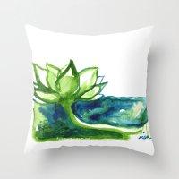 Green Lotus Throw Pillow