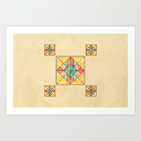 Watercolored Tiles Art Print