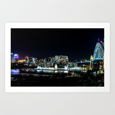 Sydney Night Skyline Art Print