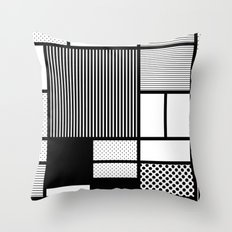 Composition With Black, Dots, Stripes & Black Throw Pillow