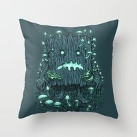The Fungus Log Throw Pillow