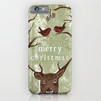 Reindeer Mistletoe Christmas Card iPhone 6 Slim Case