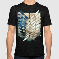 Attack On Titan: Scoutin… Mens Fitted Tee Tri-Black SMALL