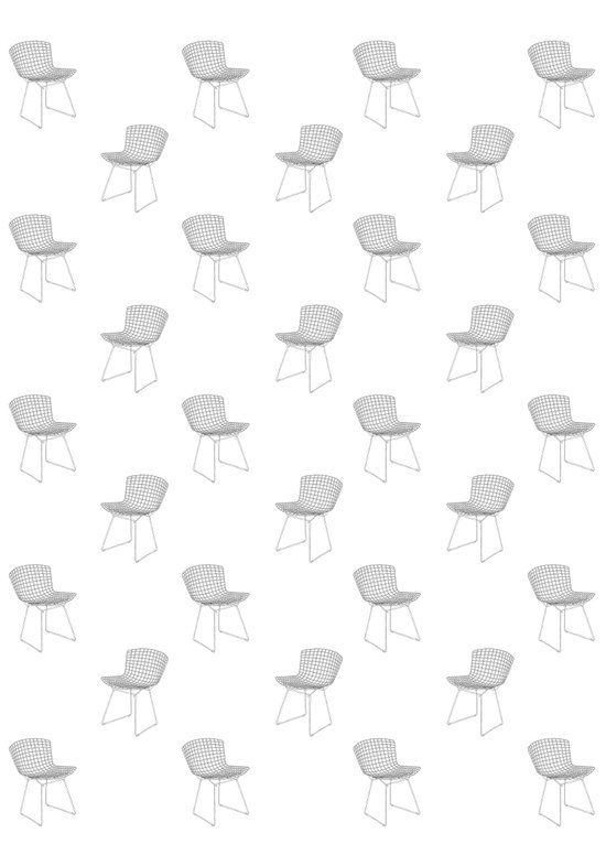 bertoia side chair pattern black and white Art Print