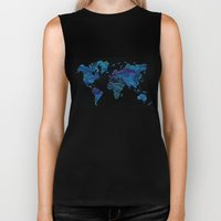 World Map in Blue and Green Biker Tank