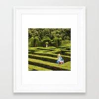 Alice And The White Rabb… Framed Art Print