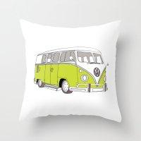 Green Volkswagen Camper Van (Landscape) (Kombi // VW) Throw Pillow