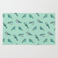 doodle birds - mint Rug