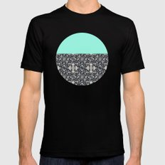 Modern Lace & Aqua SMALL Mens Fitted Tee Black