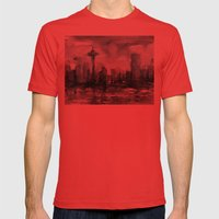 Seattle Skyline Painting Watercolor Black and White Space Needle Mens Fitted Tee Red SMALL