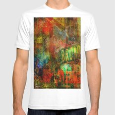 Slice of Broadway SMALL Mens Fitted Tee White