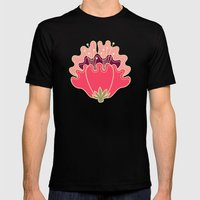 flat flowers - pattern Mens Fitted Tee Black SMALL