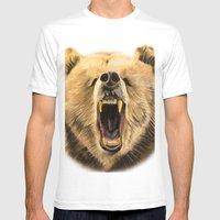 Roaring Bear Mens Fitted Tee White SMALL