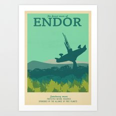 Retro Travel Poster Series - Star Wars - Endor Art Print