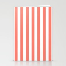 Vertical Stripes (Salmon/White) Stationery Cards