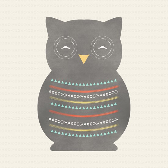 Dark Gray Owl Art Print