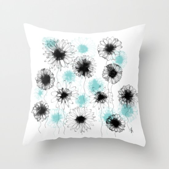 Floating Flora Throw Pillow