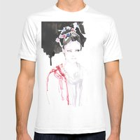 Watercolor Illustrations Mens Fitted Tee White SMALL
